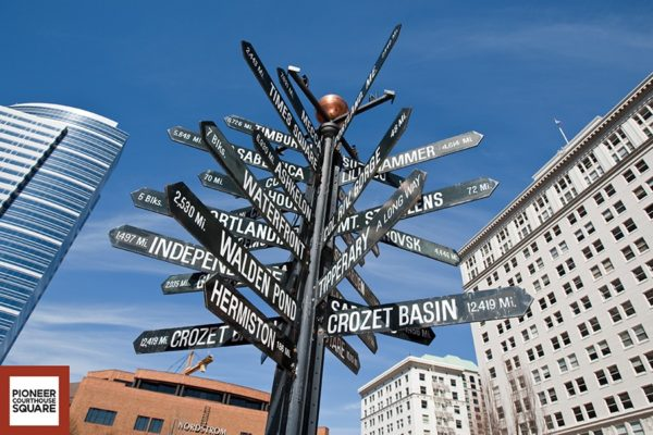 Mile Post Sign - This iconic whimsical art piece shows nine sister-cities and other world-wide destinations.